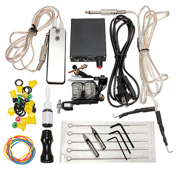 Complete Tattoo Machines Power Supply Gun Color Inks Kit Set