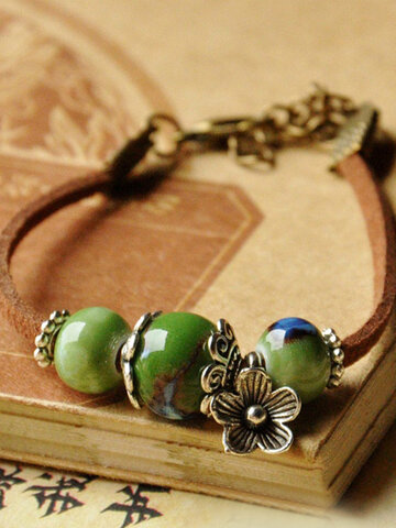Flower Ceramic Beads Pendant Bracelet