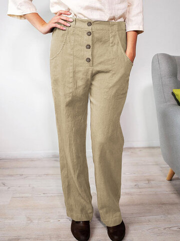 Casual Straight Cotton Pants
