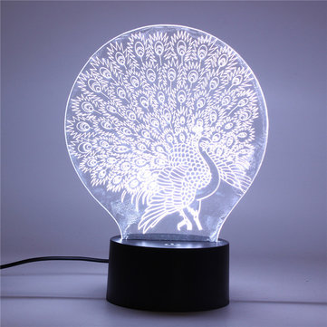 Peacock 3D Acrylic LED Night light 7 Color Touch Desk Lamp Xmas Gift Living Room Home Decor