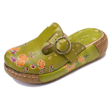 Retro Flowers Stitching Leather Sandals