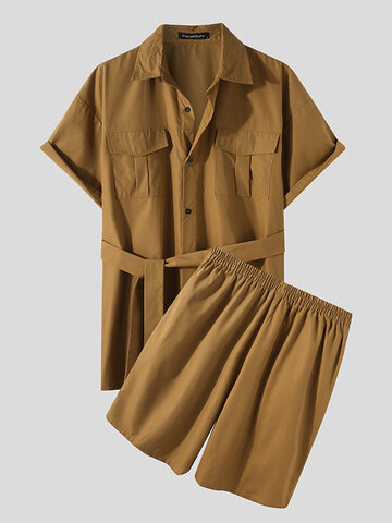 Plus Size Solid Color Cargo Outfist
