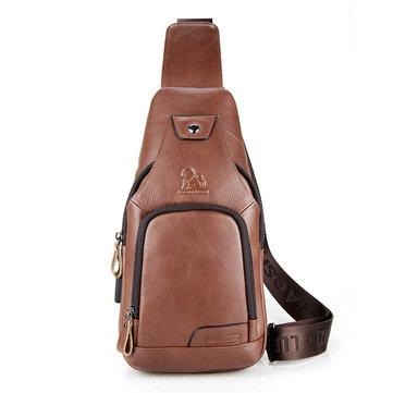 الرجال حقيبة كروسبودي عارضة جلد البقر USB شحن حقيبة الصدر