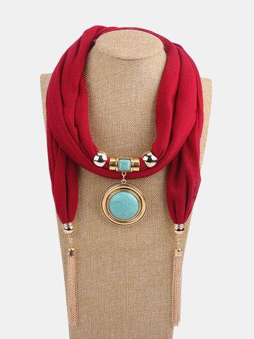 Collier écharpe solide avec pendentif en forme de rond