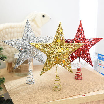 Christmas Tree Topper Star Iron Christmas Star Tree Topper, Silver gold red