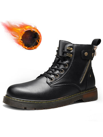 Men Fashion Comfy Warm Tooling Leather Boots