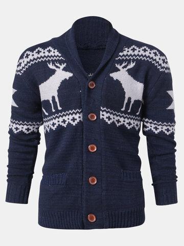Christmas Reindeer Button Cardigan Sweater