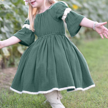 Lace Patch Girls Vestido Casual Para 1-5Y