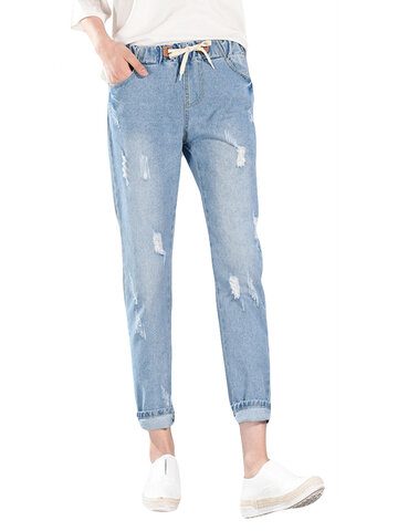Drawstring Elastic Waist Denim, Dark blue light blue