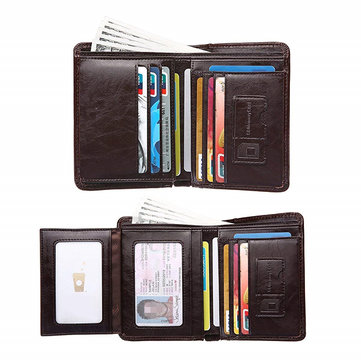 Men Genuine Leather Multi-function 10 Card Slots Wallet