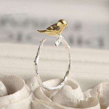 Lindo 925 anillos de apertura de rama de pájaro de plata
