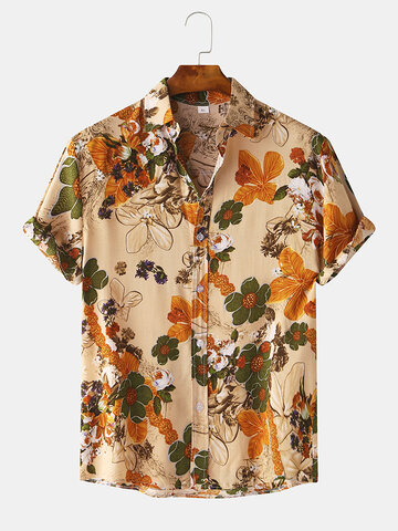 Vintage Floral Oil Printting Short Sleeve Shirts