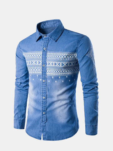 Mens Denim Casual Printed Shirt фото