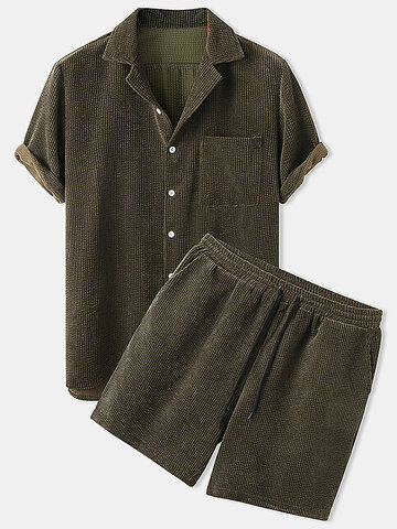 Corduroy Solid Patch Pocket Outfits