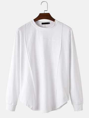 Modal Plain Patchwork T-Shirt