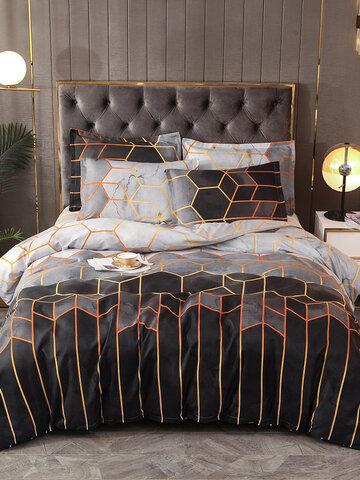 2/3Pcs Geometric Bedding Set White Black Golden Duvet Cover Sets Polyester Bed Cover Pillowcase Queen King Size