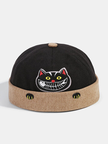 Men & Women Funny Cat Embroidery Pattern Contrasting Color Skull Caps