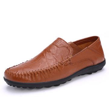 Homme Mocassins Cuir Souples Couture Mannuelle Chaussures Décontractées À Enfiler Pointure Large Pour Business