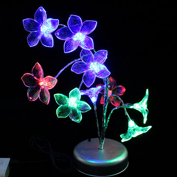 Colorful Lily LED Flash Lights Living Room Home Decor Battery Powered Or USB