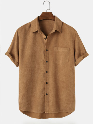 Basic Solid Corduroy Shirts
