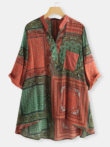 Bohemian Print V-neck Irregular Shirt
