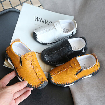 Hand Stricing Non Slip Soft Sole Slip On Leather Loafers