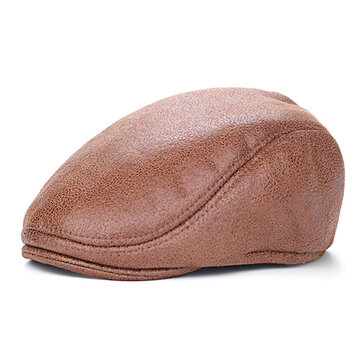 Men Vintage PU Leather Beret Cap  Casual Outdoor Visor Duck Hats Winter Warm Peaked  Caps