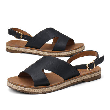 Open Side Buckle Espadrilles Flat Sandals