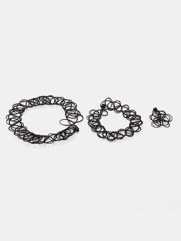 Rock Collar Black Pattern Tattoo Elastic Plastic Ring Bracelet Necklace