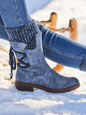 Snow Strappy Block Heel Stiefel