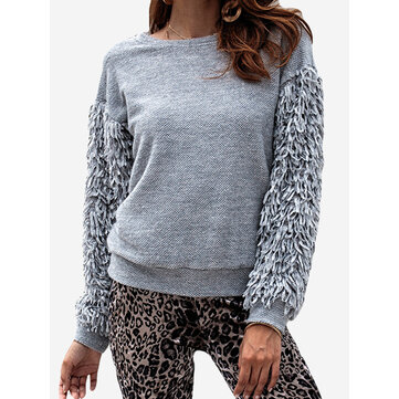 Fringed Long Sleeve Sweater, Grey