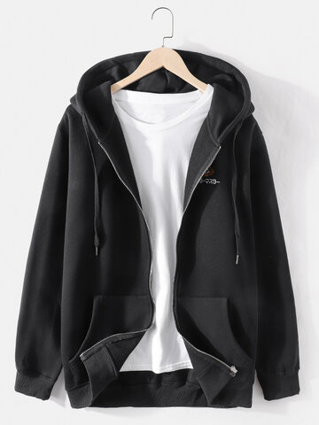 Cotton Solid Color Embroidered Hoodie