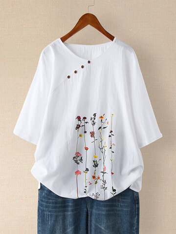 Floral Printed Short Sleeve Button T-shirt
