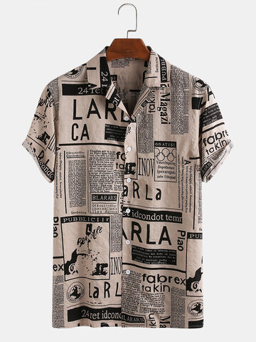 Mens 65% Cotton Fun Newspaper Print Casual Holiday Short Sleeve Shirt
