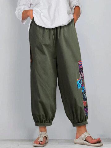 Patchwork Elastic Waist Pants