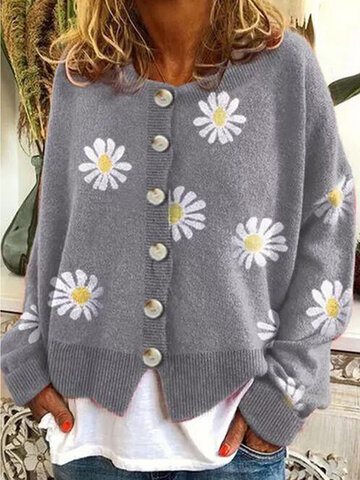 Daisy Print Knit Button Cardigan