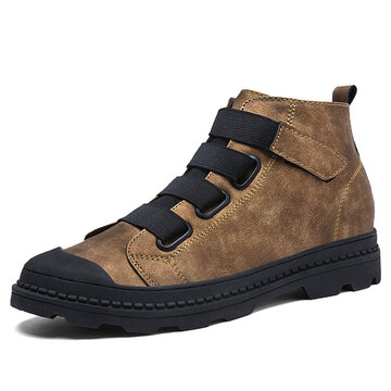 Men Elastic Laces Hook-loop Wearable Work Leather Boots