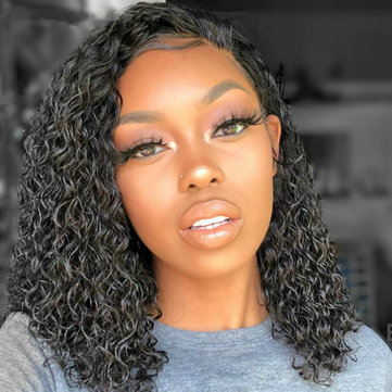 Front Lace High Temperature Silk Black Chemical Fiber Hair Wigs African Blacks Partial Small Volume Wave Short Curly Hair Wig Female, Inches