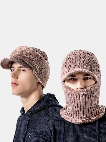 Bonnet tricoté coupe-vent en laine et velours pour hommes