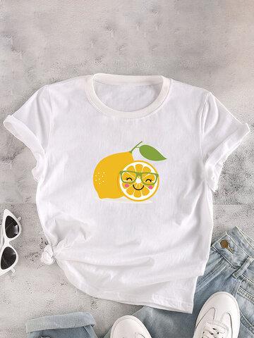 Cartoon Lemon Print O-neck T-Shirt