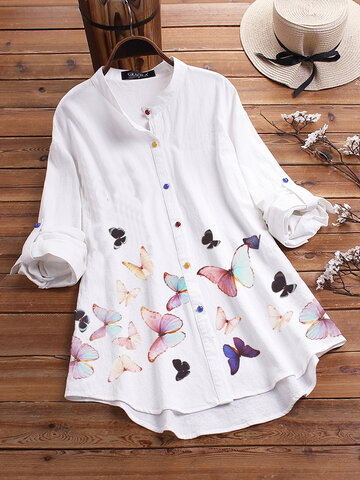 Colorful Butterflies Print Shirt