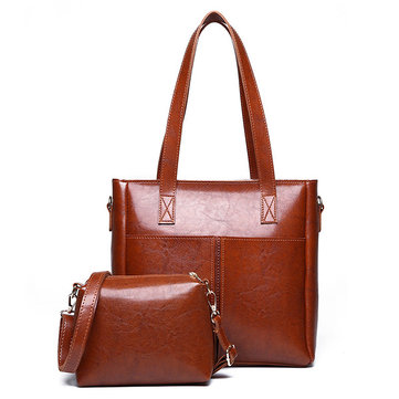 2 PCS Women Retro PU Leather Large Capacity Crossbody Bag