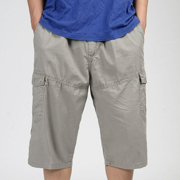 Plus Size Multi-pocket Solid Color Loose Fit Casual Cotton Cargo Shorts for Men