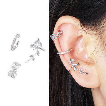 Fashion 3 Pcs Ear Clip Earrings Hollow Geometric Silver Leaf Zircon Ear Cuff Earrings for Women