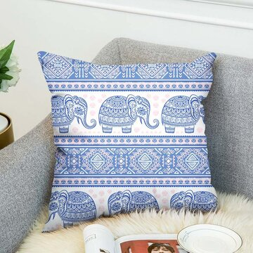 3D Elephant Double-sided Printing Linen Cushion Cover