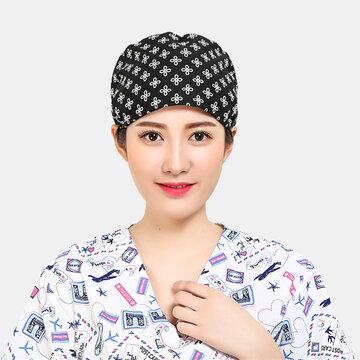 Nurse's Cotton Printed Beanie Hat Surgical Cap Scrub Caps