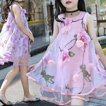 Robes de filles en couches de fleurs pour 6Y-15Y