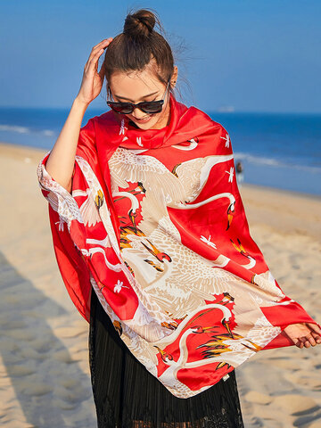 Women Crane Printing Sunscreen Beach Shawls Scarf