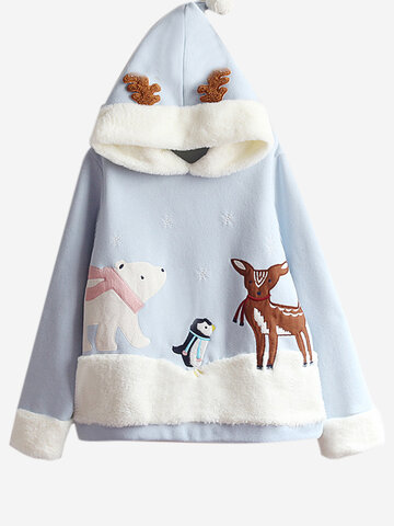 Patchwork Animal Hooded Sweatshirt