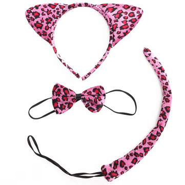 Animal Leopard Ear Set Hairband Bow Tie Tail Headband Party Halloween Wear